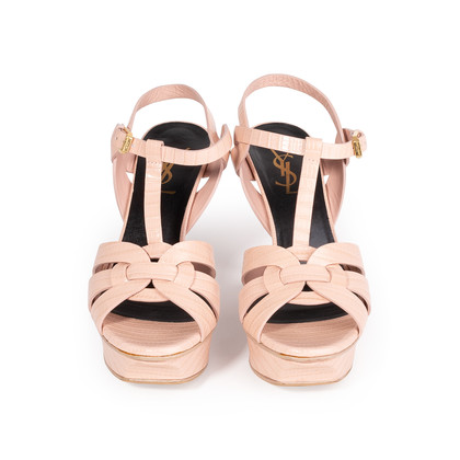 Authentic Second Hand Yves Saint Laurent Croc-Embossed Tribute Sandals (PSS-A12-00035)