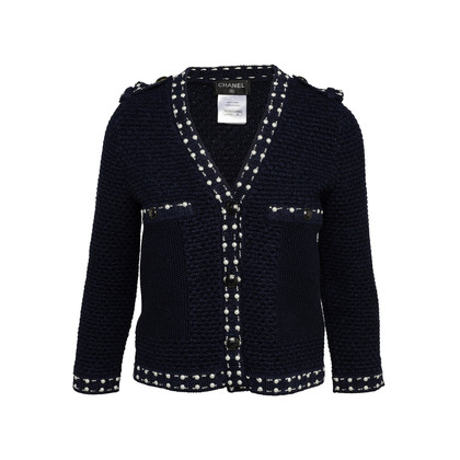 Authentic Second Hand Chanel Pearl Stud Knit Jacket (PSS-990-00365)