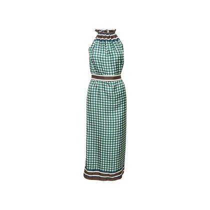 Authentic Second Hand Louis Vuitton Check Print Silk Tie Dress (PSS-990-00389)