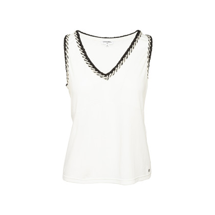 Authentic Second Hand Chanel Braided Trim Sleeveless Shirt (PSS-990-00395)