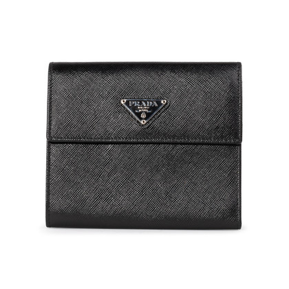 Authentic Second Hand Prada Saffiano Short Flap Wallet (PSS-A32-00006)