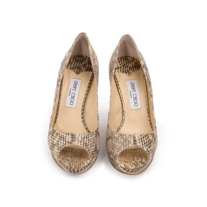 Authentic Second Hand Jimmy Choo Python Peep Toe Sandals (PSS-A26-00010)