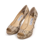 Authentic Second Hand Jimmy Choo Python Peep Toe Sandals (PSS-A26-00010) - Thumbnail 3