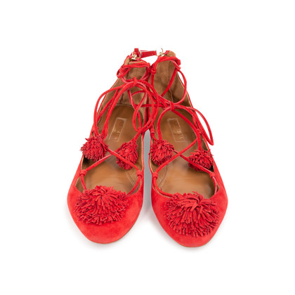 Authentic Second Hand Aquazzura Sunshine Suede Flats (PSS-A43-00001)