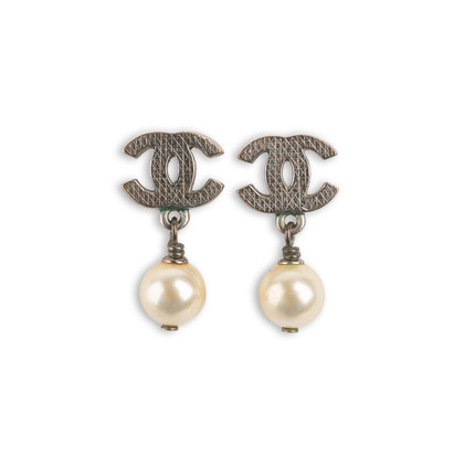 Authentic Second Hand Chanel Pearl Dangle Logo Earrings (PSS-A46-00007)