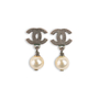 Authentic Second Hand Chanel Pearl Dangle Logo Earrings (PSS-A46-00007) - Thumbnail 0