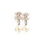 Authentic Second Hand Chanel Pearl Dangle Logo Earrings (PSS-A46-00007) - Thumbnail 1