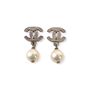 Authentic Second Hand Chanel Pearl Dangle Logo Earrings (PSS-A46-00007) - Thumbnail 2