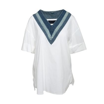 Authentic Second Hand Juun. J Denim Trim Cotton Top (PSS-200-01982)