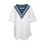 Authentic Second Hand Juun. J Denim Trim Cotton Top (PSS-200-01982) - Thumbnail 0