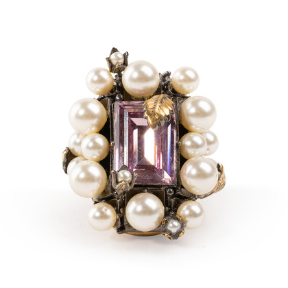 Authentic Second Hand Gucci Crystal Pearl Ring (PSS-393-00082)