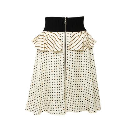 Authentic Second Hand Louis Vuitton Silk Polka Dot Peplum Skirt (PSS-990-00540)