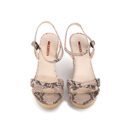 Authentic Second Hand Prada Embossed Snakeskin Espadrille Wedges (PSS-393-00109)