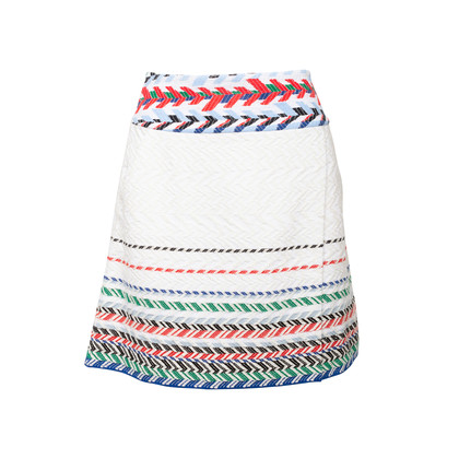 Authentic Second Hand Chanel Striped Woven Airlines Skirt (PSS-990-00560)