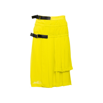 Authentic Second Hand Louis Vuitton Leather Buckle Pleated Skirt (PSS-990-00578)