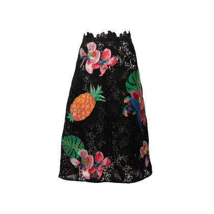 Authentic Second Hand Valentino Tropical Appliqué Lace Skirt (PSS-990-00593)