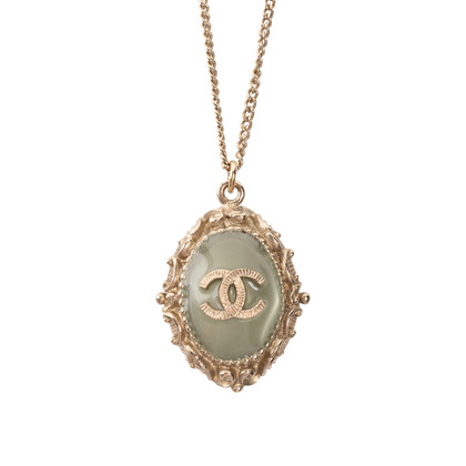 Authentic Second Hand Chanel Logo Enamel Frame Necklace (PSS-328-00029)