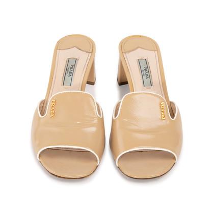 Authentic Second Hand Prada Textured Patent Sandals  (PSS-328-00032)