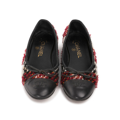 Authentic Second Hand Chanel Tweed Patchwork Ballerina Flats (PSS-A82-00002)