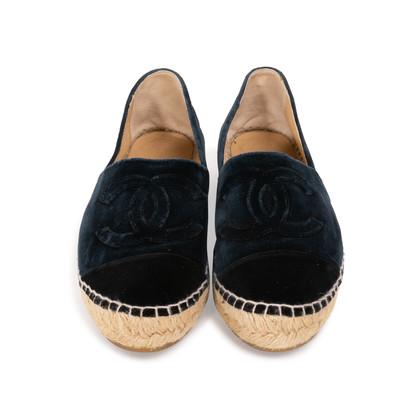 Authentic Second Hand Chanel Velvet 'CC' Cap Toe Espadrilles (PSS-A82-00004)
