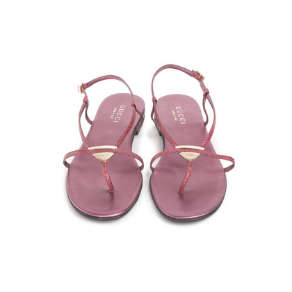 Authentic Second Hand Gucci Logo Thong Sandals  (PSS-A76-00001)