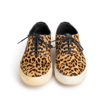 Authentic Second Hand Yves Saint Laurent Leopard Print Calf Hair Sneakers (PSS-617-00054)