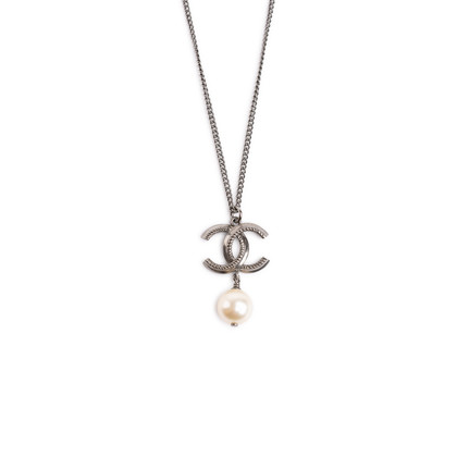 Authentic Second Hand Chanel Logo Pearl Dangle Necklace (PSS-859-00112)
