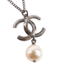 Authentic Second Hand Chanel Logo Pearl Dangle Necklace (PSS-859-00112) - Thumbnail 5