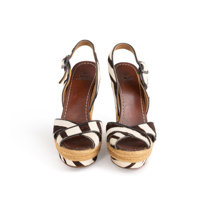 Authentic Second Hand Christian Louboutin Almeria 120 Wedge Sandals (PSS-048-00193)