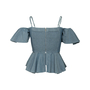 Authentic Second Hand Sea Ruffle Off Shoulder Top (PSS-048-00224) - Thumbnail 1