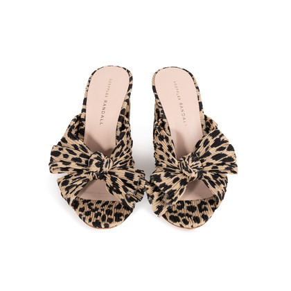 Authentic Second Hand Loeffler Randall Leopard Penny Knot Mules (PSS-886-00024)