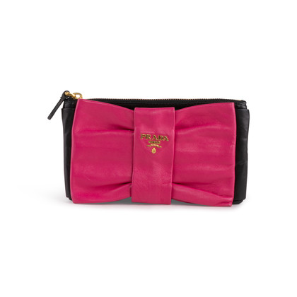 Authentic Second Hand Prada Bow Zip Nappa Pouch (PSS-114-00050)