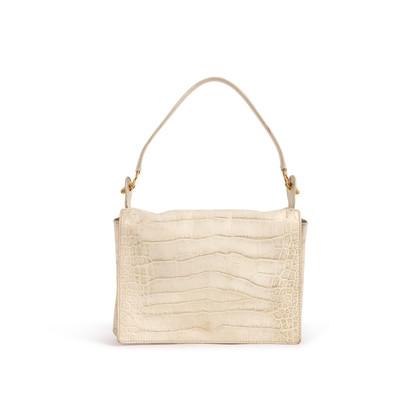 Authentic Second Hand Yves Saint Laurent Croc Embossed Flap Shoulder Bag (PSS-089-00106)