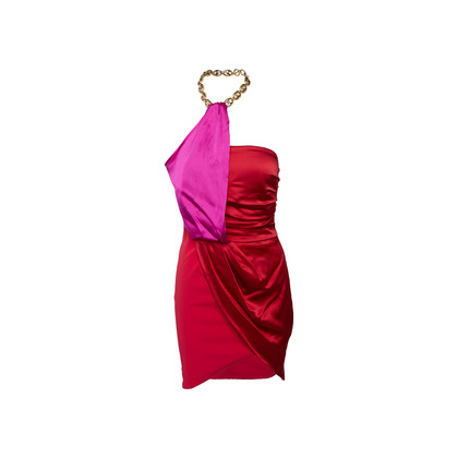 Authentic Second Hand Elisabetta Franchi For Celyn B. Satin Ruched Mini Dress (PSS-B03-00002)
