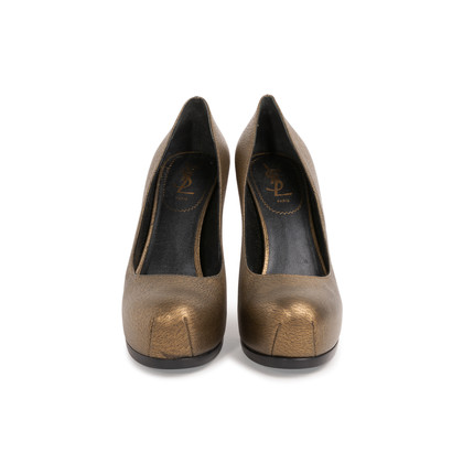 Authentic Second Hand Yves Saint Laurent Metallic Leather Tribtoo Pumps (PSS-064-00004)