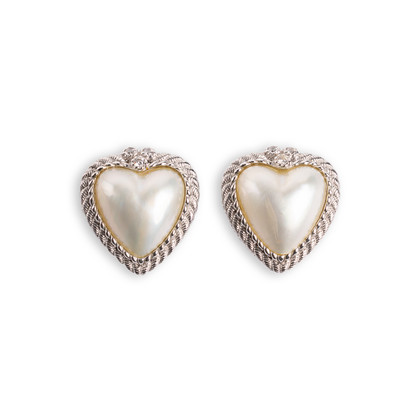 Authentic Second Hand Judith Ripka Heart-shaped Pearl Stud Earrings (PSS-634-00010)