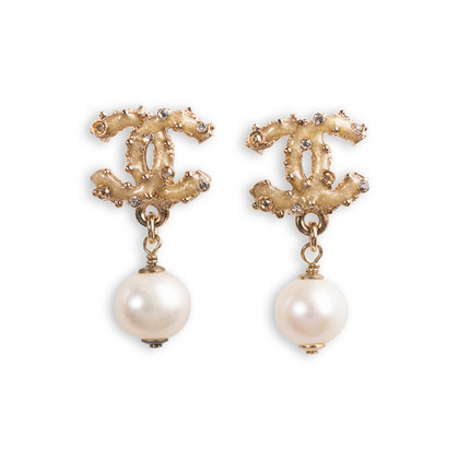 Authentic Second Hand Chanel Pearl Dangle Logo Earrings (PSS-A09-00040)