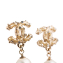 Authentic Second Hand Chanel Pearl Dangle Logo Earrings (PSS-A09-00040) - Thumbnail 1
