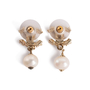 Authentic Second Hand Chanel Pearl Dangle Logo Earrings (PSS-A09-00040) - Thumbnail 2
