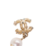 Authentic Second Hand Chanel Pearl Dangle Logo Earrings (PSS-A09-00040) - Thumbnail 4