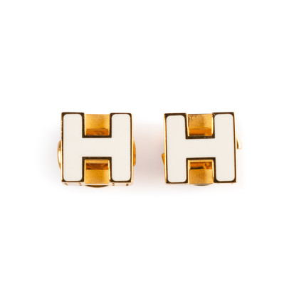 Authentic Second Hand Hermès Cage d'H Earrings (PSS-A09-00059)
