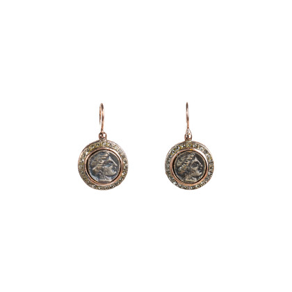Authentic Second Hand Marcello Fontana Rose Gold Coin Earrings (PSS-247-00245)