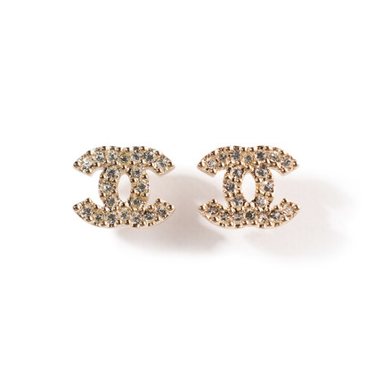 Authentic Second Hand Chanel Crystal Logo Earrings (PSS-A09-00037)