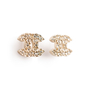 Authentic Second Hand Chanel Crystal Logo Earrings (PSS-A09-00037) - Thumbnail 1