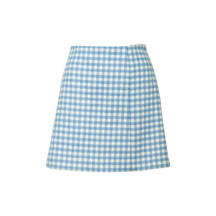 Authentic Second Hand Prada Wool Gingham Mini Skirt (PSS-351-00051)