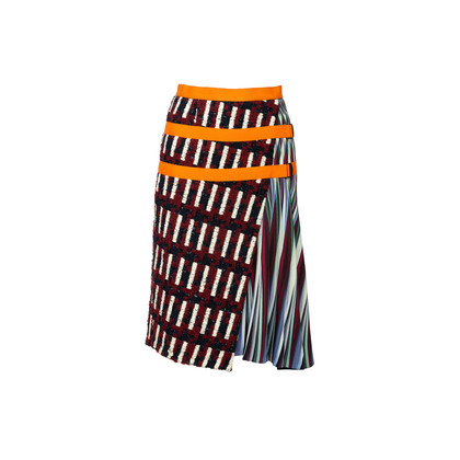 Authentic Second Hand Peter Pilotto Tweed and Printed Crepe-Jersey Skirt (PSS-351-00055)