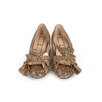 Authentic Second Hand N°21 Glitter Knotted Loafers (PSS-351-00053)