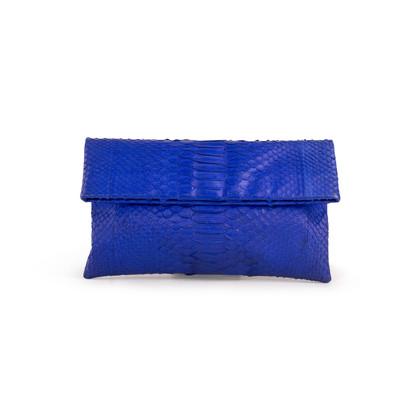 Authentic Second Hand (unbranded) Python Cobalt Blue Clutch (PSS-B16-00005)