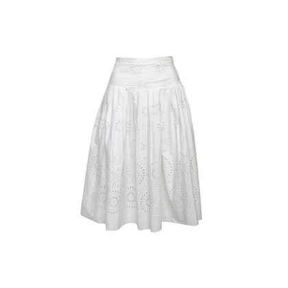 Authentic Second Hand Prada Pleated Floral Eyelet Skirt (PSS-992-00019)