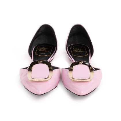 Authentic Second Hand Roger Vivier Patent Chips D'Orsay Flats (PSS-855-00024)